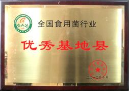 西峡县荣获全国食用菌行业优秀基地县证书